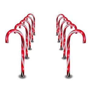indoor outdoor christmas decoration lights candy cane pathway markers set of 10