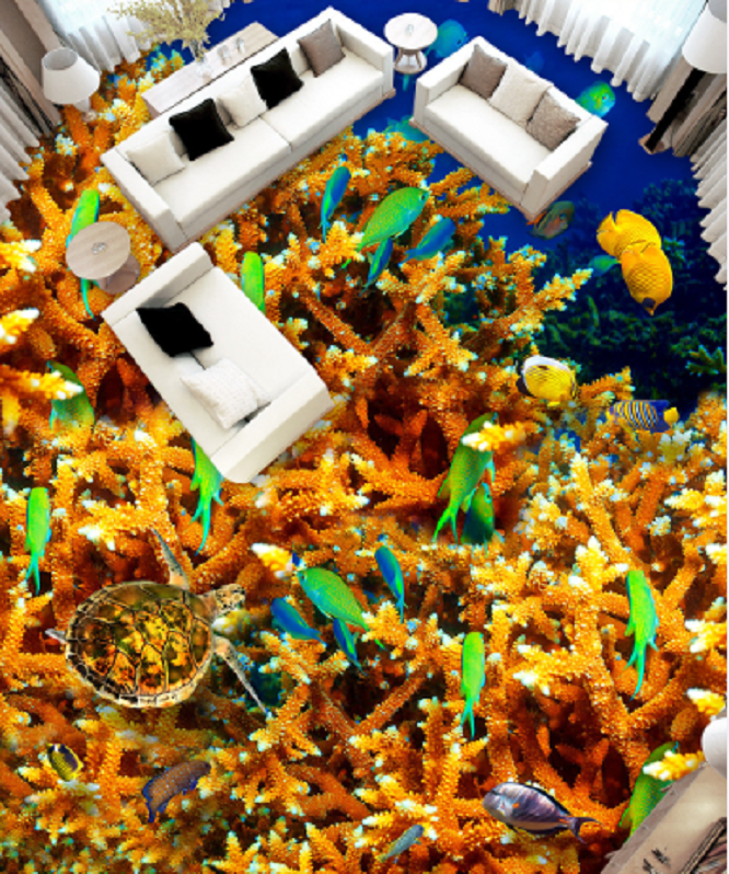 3D Grün Fishes Coral 7 Floor WallPaper Murals Wall Print Decal AJ WALLPAPER US