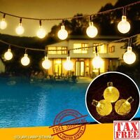 Led Solar String Lights Warm Crystal Balls Garden Patio Yard Party Outdoor Orb