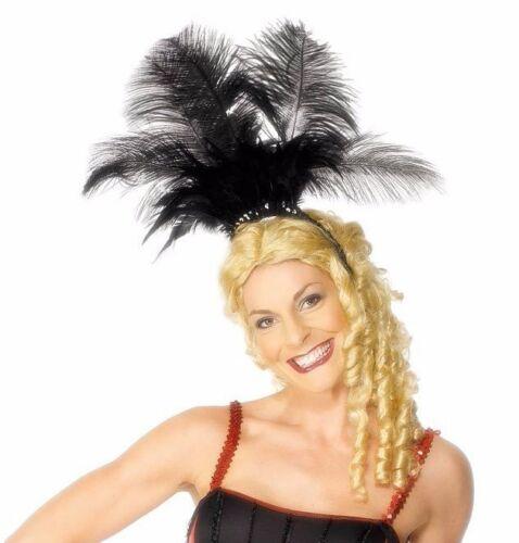 Black Feather Can-Can Headpiece Burlesque Dancer Cancan Feather Headband Adult