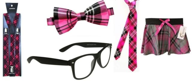 Glasses, Braces /& Bow BLACK NERD GEEK SQUAD SCHOOL BLACK 3 PCS FANCY DRESS SET
