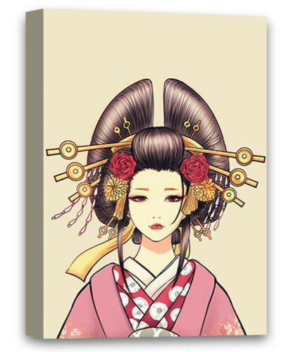 Japanese Girl Canvas Wall Art Pink Dress Geisha Home Decor Prints