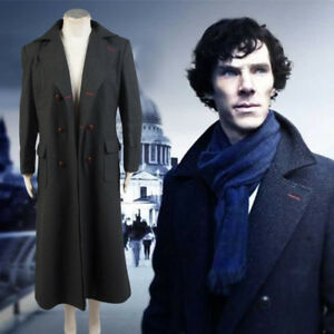 search for clearance promo codes new season Details about Sherlock Holmes Wool Trench Coat Cosplay Costume Business  Suit Halloween Outfit
