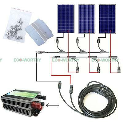 300W solar panel off grid COMPLETE KIT 3x100W panels for Home/outdoor battery