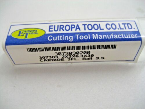 2mm SOLID CARBIDE BALL NOSED 3 FLUTED END SLOT DRILL EUROPA TOOL 3073030200  A18