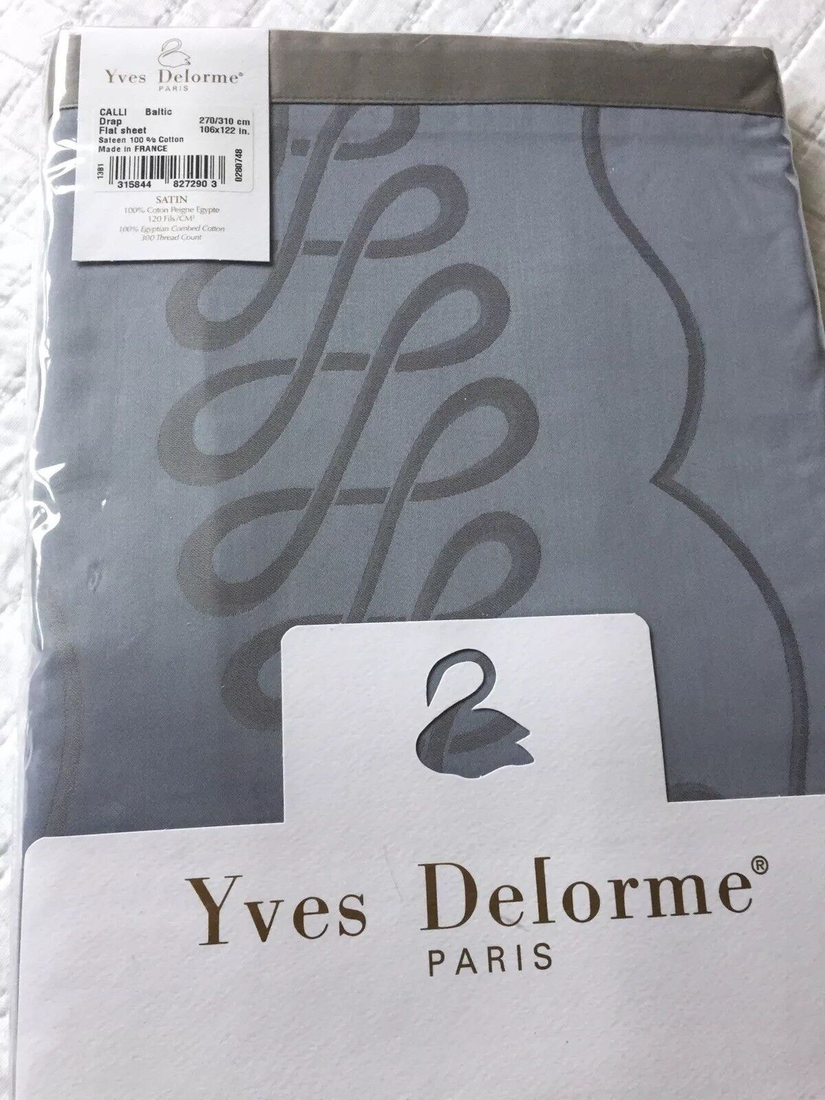 YVES DELORME CALLIGRAPHY BALTIC SATIN King SUPERKING FLAT Sheet