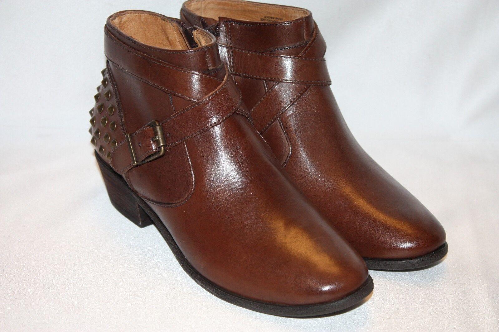 NEW  NIB  NURTURE Cognac Brown Leather FLINT Spike Buckle Ankle Boot Sz 6  130