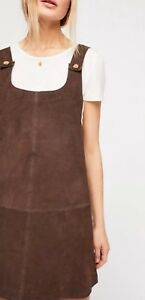 best selling newest selection best authentic Details about NWT Free People Suede Leather Michalla Mini Jumper Dress Size  XS Chocolate Brown