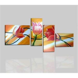 Quadri moderni astratti dipinti a mano olio su tela con for Quadri ad olio con fiori