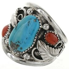 Sterling Silver AZ~Sleeping Beauty Turquoise Coral Men's Ring Navajo Large Size