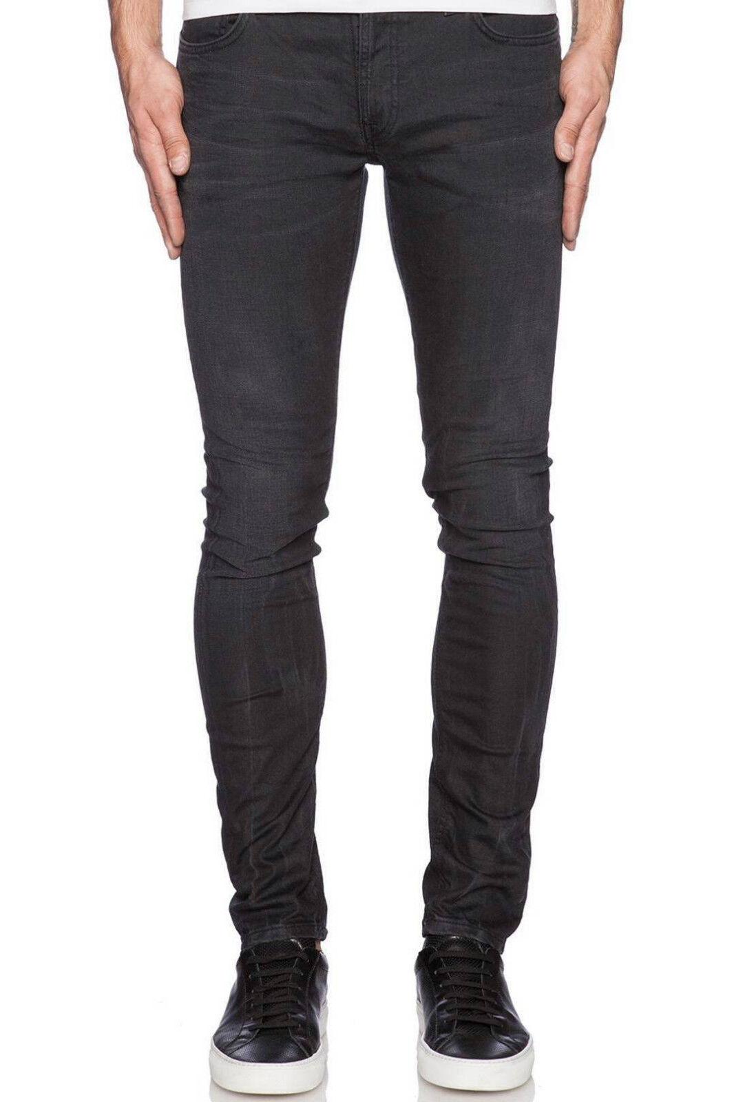 NUDIE Men Skinny Lin Jeans Concrete Weft Slim D0158 Dark Organic Stretch W25 L34
