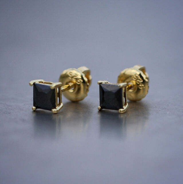 Mens Small Gold Princess Cut Lab Diamond Stud Earrings
