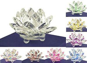 "Stunning 3.5/"" Clear /& Pink Hue Reflect Crystal Lotus Home Decor Gift USA Seller"