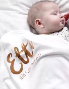 personalised Baby shawl blanket wrap christening boy girl white baptism