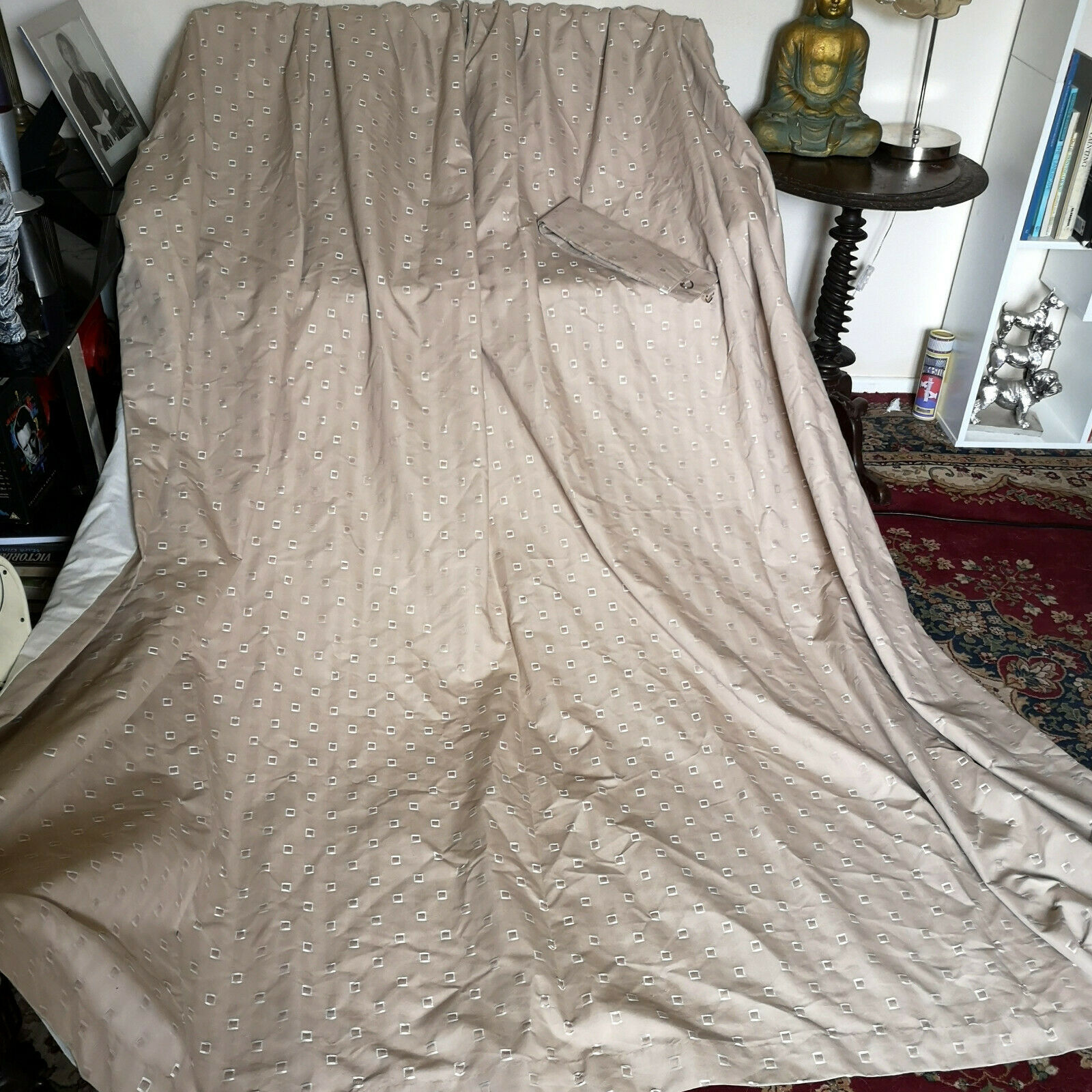 VERY STYLISH DAMASK CURTAINS-CURTINA-CONTEMPORARY STYLE- 89 Wx90 -+TIES-GOOD