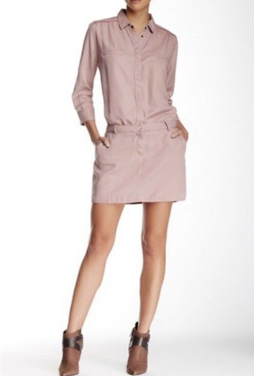 Etienne Marcell Denim Military Pink Long Sleeve Button Down Mini Shirt Dress Med