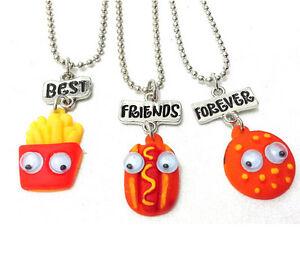 New Best Friends Forever Fries Hot Dogs Hamburgers 3 Pendants