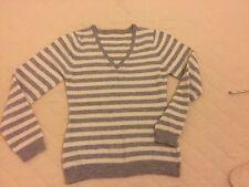 Cashmere  Grey & Ivory Striped Jumper Sz 8