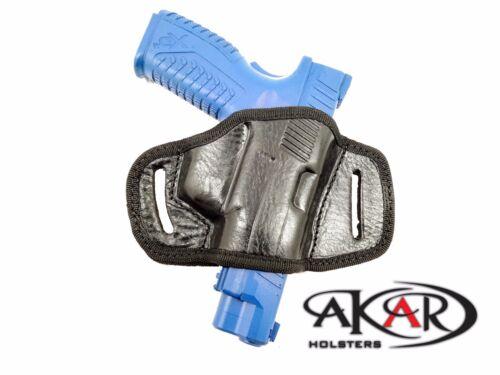 BLACK OR BROWN LEATHER QUICK DRAW BELT SLIDE OWB HOLSTER Fits Glock 17//22//31