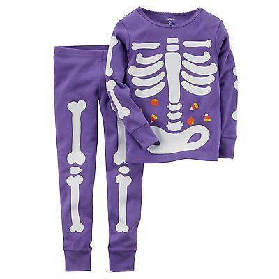 NEW Carter's 2 Piece PJs Glow in Dark Skeleton Halloween NWT 2t 3t 4t 5t 6 7 8