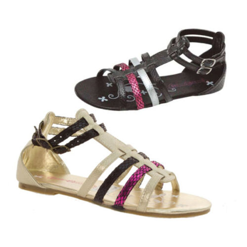 Goody 2 Shoes Gladiator Sandals Girls Kids Black Gold Strap UK13-5