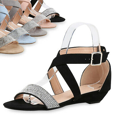 Damen Sandaletten Mini-Keilabsatz Wedges Strass Sommerschuhe 815710 Top