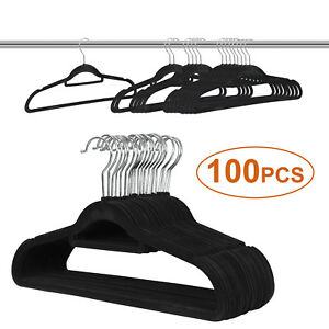 100pcs Velvet Clothes Suit/ Shirt/ Pants Hangers Hook Flocked Non Slip Organize