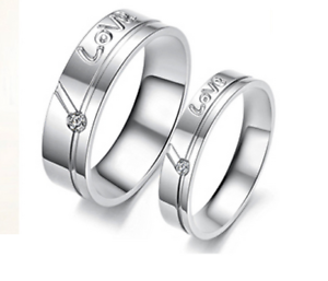 Coppia-Fedine-Fidanzamento-Acciaio-Anelli-Uomo-Donna-Love-Incisione-Nome-data