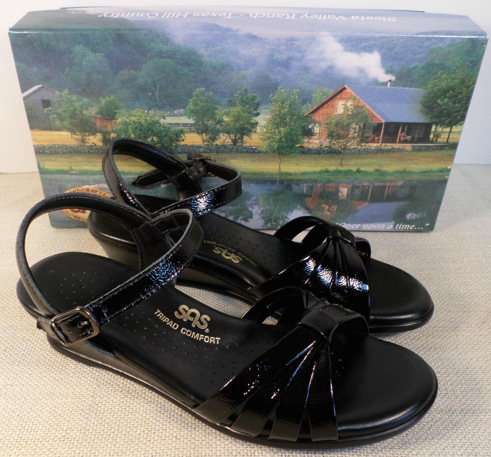 SAS STRIPPY WOMEN'S BLACK PATENT LEATHER DRESS SANDALS NEW IN BOX