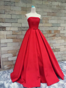 Image Is Loading Red Satin Strapless Prom Dresses Ball Gown Formal