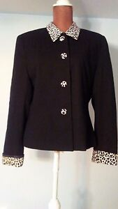 Amanda-Smith-Black-Wool-Blazer-Trimmed-with-Black-amp-White-Design-Size-12-Exc