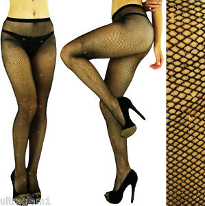 2bc91374e3a Image is loading Black-Gold-GLITTER-FISHNET-Seemless-PANTYHOSE-TIGHTS- CROSSDRESSER-