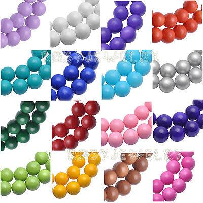 Rund 4/6/8/10/12MM Glasperlen undurchsichtig Beads Opaque-Coated Perlen Farben