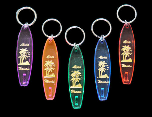 Set of Five - Surfboard Hard Plastic Hawaii Key Chain - 1980 Vintage Deadstock