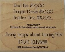 NEW MSE! My Sentiments Exactly! Mounted Wood Rubber Stamp Q254 Red Hat Priceless