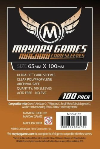 100 Large Sized Card Sleeves #1 65 MM X 100 MM Sleeves for 7 Wonders and more