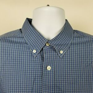Eddie-Bauer-Wrinkle-Free-Relaxed-Fit-Mens-Blue-Check-Dress-Button-Shirt-Sz-Large