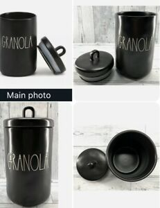 """New RAE DUNN """"GRANOLA"""" 8.5"""" Black Canister Cookie Jar LL By Magenta 2020 Release"""