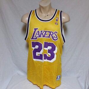 check out c77ed 875e1 Details about VTG Los Angeles Lakers Cedric Ceballos Champion Jersey NBA  LeBron James LA 48
