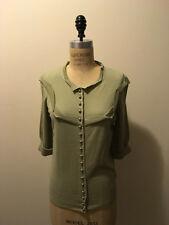 Louis Vuitton Sz M Pale Green Cashmere Knit Sweater w/Silver Buttons
