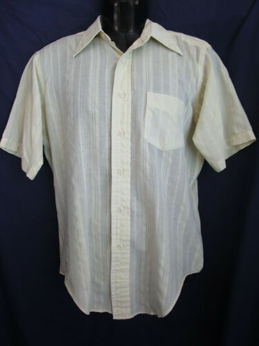 Vtg 60s 70s Thin Permanently Pressed Pale Yellow S