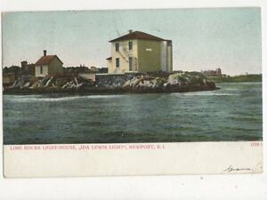 Lime-Rocks-Lighthouse-Ida-Lewis-Light-Newport-RI-1907-Postcard-USA-402a