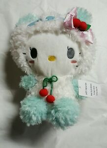 Sanrio Hello Kitty Wearing white and green with pink Bow Plush Doll 13/""