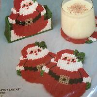 Roly-Poly Santas Coasters Set of 7 Plastic Canvas Kit-Bucilla - 7-mesh