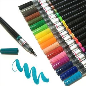 Pentel-Colour-Water-Brush-Pen-Refillable-Calligraphy-Manga-in-12-Colours