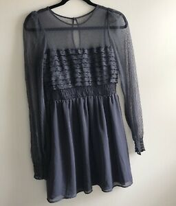 Free People The Vintage Lace Dress Womens Lace Sheer Long Sleeve Size 4