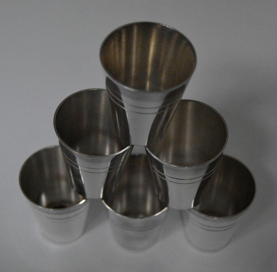 Spiritus, 6 snap krus af plet sølv