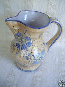 Hand-Painted-Brown-Floral-Designer-7-034-Tall-Pitcher-Jug-with-Name-On-Bottom