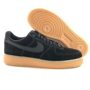 38559d8c98ae Nike Air Force 1  07 LV8 Suede Low Black Brown Gum Sole AA1117-001 ...