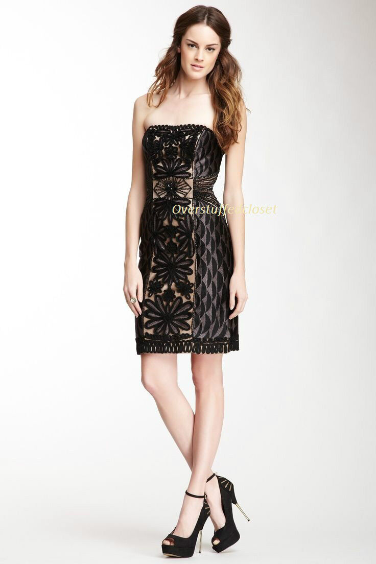 NWT  508 Sue Wong Strapless Contrast Embellished Embellished Embellished Trim Strapless Dress  8 c97e03